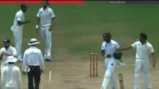 VIDEO: Rohit Sharma and Darren Bravo engage in verbal war during third Test at St. Lucia
