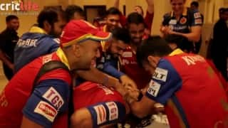 Mr.Nags gets a taste of chocolate cake after RCB's massive victory