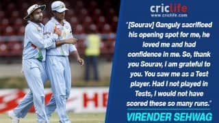 Virender Sehwag credits Sourav Ganguly for his successful Test career