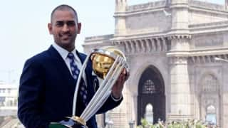 MS Dhoni with trophies