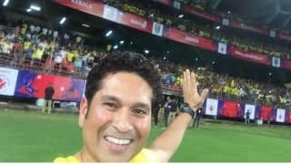 Sachin Tendulkar enjoys the inaugural game of Kerala Blasters