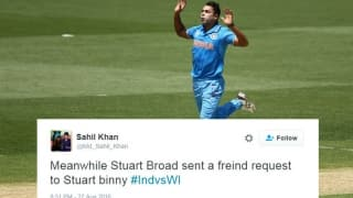 Twitterati troll Stuart Binny after he leaks 5 sixes in an over to centurion Evin Lewis