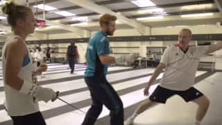 VIDEO: Jonny Bairstow, Dannielle Wyatt give fencing a shot