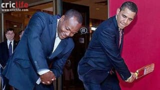 When President Barack Obama got cricket lessons from Brian Lara