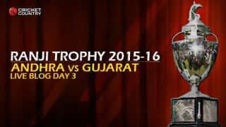 GUJ 24/1 I Live Cricket Score, Andhra vs Gujarat, Ranji Trophy 2015-16, Group B match, Day 3 at Vizianagaram: Stumps