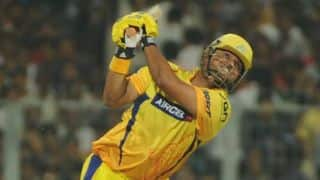 Suresh Raina dismissed after blistering knock for Chennai Super Kings against Kings XI Punjab in IPL 2014 Qualifier 2