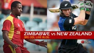 Live Cricket Score, Zimbabwe vs New Zealand 2015, 3rd ODI at Harare, ZIM 235/10 in Overs 47.4: Black Caps seal series 2-1