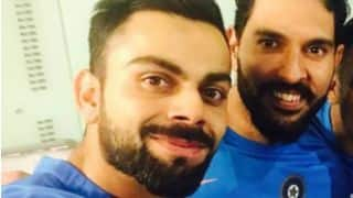 Virat Kohli in a candid 'victory' selfie with MS Dhoni, Yuvraj Singh and Ashish Nehra