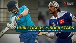 Rock Stars 122/6 in 20 Overs, target 155   Live cricket score Karnataka Premier League 2015: Hubli Tigers vs Rock Stars at Hubli: Tigers record 32-run win