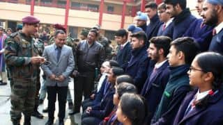 MS Dhoni visits Army Public School in Srinagar