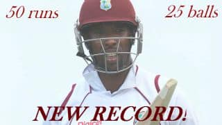 Shane Shillingford breaks record for fastest Test match fifty by a West Indian