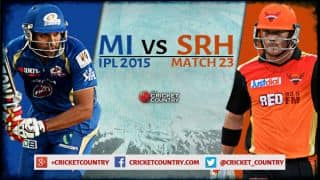 Live Cricket Score, MI vs SRH, IPL 2015, Match 23: SRH 137/8 in 20 overs: MI win by 20 runs