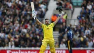 Cricket World Cup 2019: Aaron Finch's 153 sets up Australia's 334 against Sri Lanka at Kennington Oval