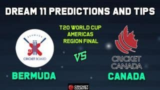 BER vs CAN Dream11 Team Bermuda vs CANADA, ICC Men's T20 World Cup Americas region final – Cricket Prediction Tips For Today's Match BER vs CAN at Sandys Parish