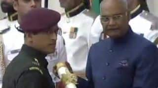Watch: MS Dhoni receive Padma Bhushan dressed in Army uniform