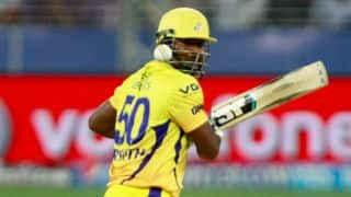 Dwayne Smith goes berserk despite the dismissal of Faf du Plessis for Chennai Super Kings against Sunrisers Hyderabad in IPL 2014