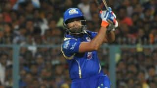 Rohit Sharma dismissed for 15 by Harshal Patel against Royal Challengers Bangalore in IPL 2015