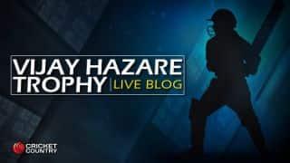 Live Cricket Score, Vijay Hazare Trophy 2015-16, SER vs ASS, HYD vs TN, J&K vs GUJ, BAR vs TRI, VID vs AND, UP vs GOA