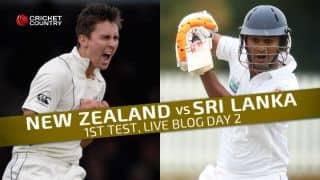 SL 197/4 in 81 overs │Live Cricket Score, New Zealand vs Sri Lanka 2015-16, 1st Test at Dunedin, Day 2: Sri Lanka close play at steady 197-4