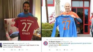 Ajinkya Rahane, Arjen Robben exchange jerseys on Diwali