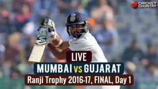 Live Cricket Score, Mumbai vs Gujarat, Ranji Trophy 2016-17 Final, Day 1: Stumps