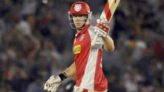 David Miller dismissed for quick 66 for Kings XI Punjab against Royal Challengers Bangalore in their match in IPL 2014