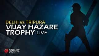 DEL 101/2 | Overs 16 | Live Cricket Score, Vijay Hazare Trophy 2015-16, Delhi vs Tripura, Group C match at Delhi: Delhi win by 8 wickets; gain 4 points