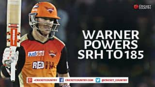 Sunrisers Hyderabad finish on 185/5 after 20 overs against Kings XI Punjab in Match 48 of IPL 2015