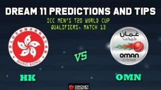 Hong Kong vs Oman Dream11 Team ICC Men's T20 World Cup Qualifiers – Cricket Prediction Tips For Today's T20 Match 13 Group B HK vs OMN at Abu Dhabi