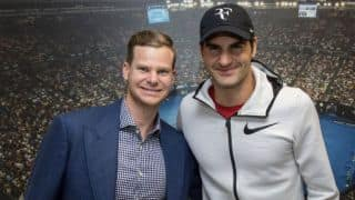 Photo: Steven Smith's fanboy moment with Roger Federer