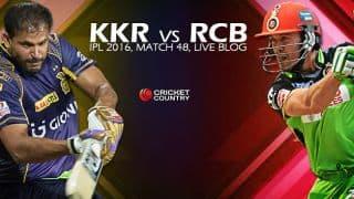 RCB 186/1 in 18.4 Overs   Live Cricket Score Kolkata Knight Riders vs Royal Challengers Bangalore, IPL 2016, KKR vs RCB, 48th T20 Match at Kolkata: RCB win by 9 wickets