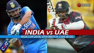 IND 82/1 in overs 10.1 | Target 82 | Live Cricket Score India vs UAE, Asia Cup 2016 IND vs UAE, 9th T20 Match at Dhaka; India win by 9 wickets