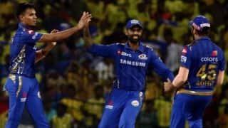 IPL 2019: Ambati Rayudu, MS Dhoni plays important inning, rahul chahar shines, chennai sets 132 runs target for mumbai