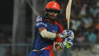 Shreyas Iyer caught and bowled by Bhuvneshwar Kumar; DD 13/1 vs SRH in Match 45 of IPL 2015