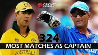 MS Dhoni equals Ricky Ponting's record of most international matches as captain