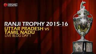 UP 277/4   Live cricket score, Uttar Pradesh vs Tamil Nadu, Ranji Trophy 2015-16, Group B match, Day 1 at Kanpur: Stumps; Suresh Raina unbeaten on 52