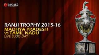 Tamil Nadu 225/5   Live Cricket Score, Madhya Pradesh vs Tamil Nadu, Ranji Trophy 2015-16, Group B match, Day 1 at  Indore: Tamil Nadu shaky