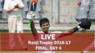 Live Cricket Score Mumbai vs Gujarat, Ranji Trophy 2016-17 Final, Day 4: Stumps