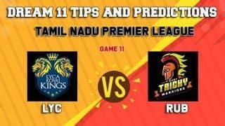 Dream11 Team Lyca Kovai Kings vs Ruby Trichy Warriors Match 11 TNPL 2019 TAMIL NADU T20 – Cricket Prediction Tips For Today's T20 Match LYC vs RUB at Tirunelveli