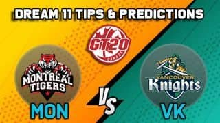Dream11 Team Montreal Tigers vs Vancouver Knights Match 8 GT20 CANADA 2019 GLOBAL T20 CANADA – Cricket Prediction Tips For Today's T20 Match MON vs VK at Brampton