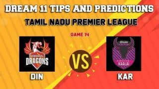 Dream11 Team Dindigul Dragons vs Karaikudi Kaalai Match 14 TNPL 2019 TAMIL NADU T20 – Cricket Prediction Tips For Today's T20 Match DIN vs KAR at Tirunelveli