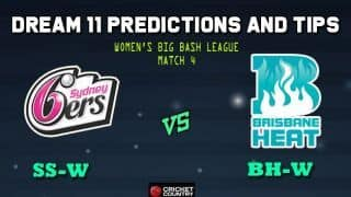 Dream11 Team Sydney Sixers vs Birsbane Heat Women's Big Bash League 2019 – Cricket Prediction Tips For Today's T20 Match 4 SS-W vs BH-W at Sydney