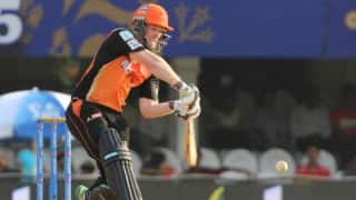 Eoin Morgan dismissed for 9 in Sunrisers Hyderabad vs Mumbai Indians IPL 2015 Match 56 at Hyderabad