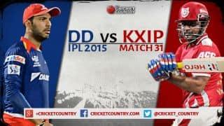 Live Cricket Score Delhi Daredevils vs Kings XI Punjab, IPL 2015 Match 31 at Delhi, DD 119/1 in 13.5 overs: DD romp home by 9 wickets