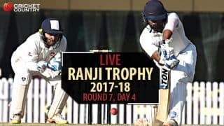Live Cricket Scores, Ranji Trophy 2017-18, Round 7, Day 4