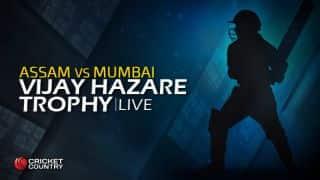 ASSAM 102 | Overs 35 | Live Cricket Score, Vijay Hazare Trophy 2015-16, Mumbai vs Assam, Group A match at Hyderabad: Mumbai wins by 96 runs; gains 4 points