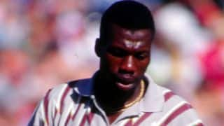 Dean Jones wakes up a sleeping Curtly Ambrose