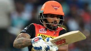 Dhawan run out for 1 by McCullum in IPL 2016 Playoffs