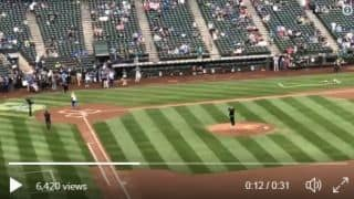 Watch Rohit Sharma throw his first pitch in Major League Baseball game