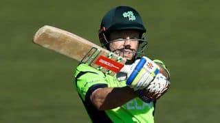 Ed Joyce dismissed for 44 by Glenn Maxwell against Australia in one-off ODI at Belfast